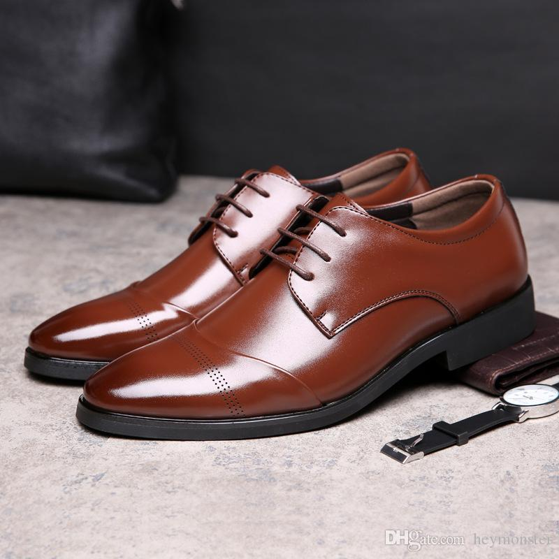 971ff97a7310 Genuine Leather Men Dress Shoes Plus Size 37 47 Business Flat Men Shoes  Black Breathable Low Top Mens Formal Office Oxford Shoes Cheap Shoes For Women  Brown ...