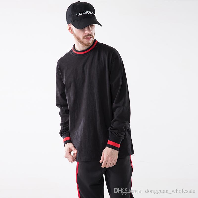 6922fd60f065e Tide Pullover Long Sleeve T Shirt Stripe Turtleneck T Shirts Skateboard  Fashion Hip Hop Streetwear Casual Tees Ti Shirt Best T Shirt Sites From ...