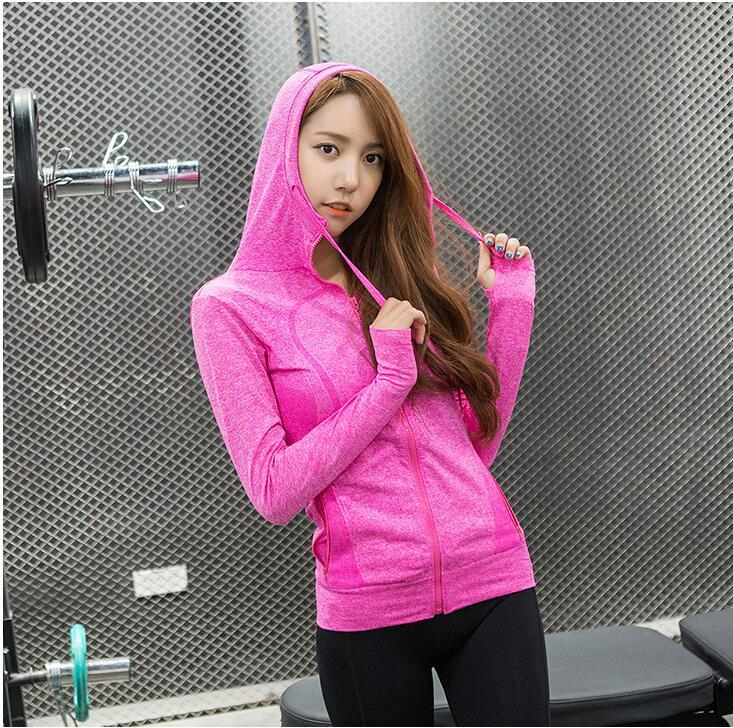 2019 Wholesale Ladies Yoga Jackets Women Running Jacket Womens Sports Jackets  Fitness Workout Sportswear Breathable Hooded Gym Coat From Sunnystars 3a5e5fe7510d