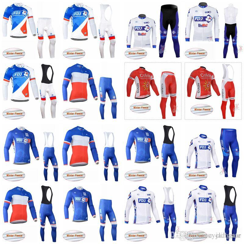FDJ COFIDIS Team Cycling Winter Thermal Fleece Jersey Bib Pants Sets Men S  Bicycle Windproof Wearable Clothes D1703 Bike T Shirt Cycle Jacket From ... f040d5f4a