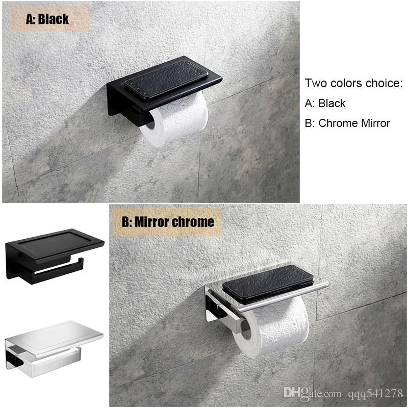 Black & Mirror chrome choice toilet paper holder top platform put phone stainless steel bathroom wall mounted paper roll holder