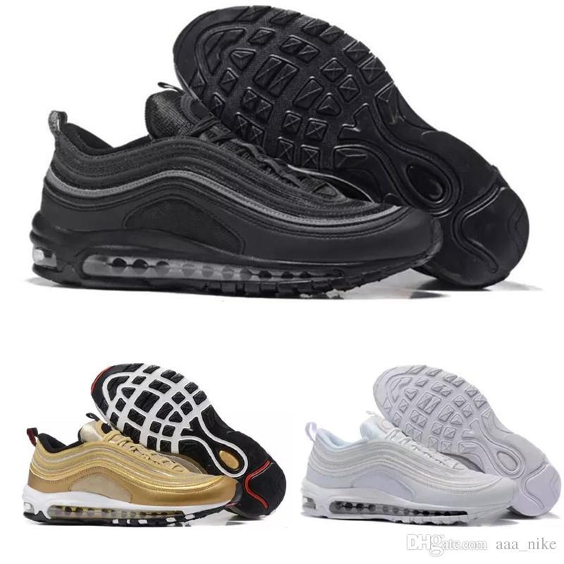 new concept 4caa1 0f085 Acheter DISCOUNT Nike Airmax Air Max 97 2018 Top Qualité En Gros Drop  Shipping 97 OG UNDFTD Invaincu Blanc Mens Femmes Chaussures De Course Maxes  Taille ...
