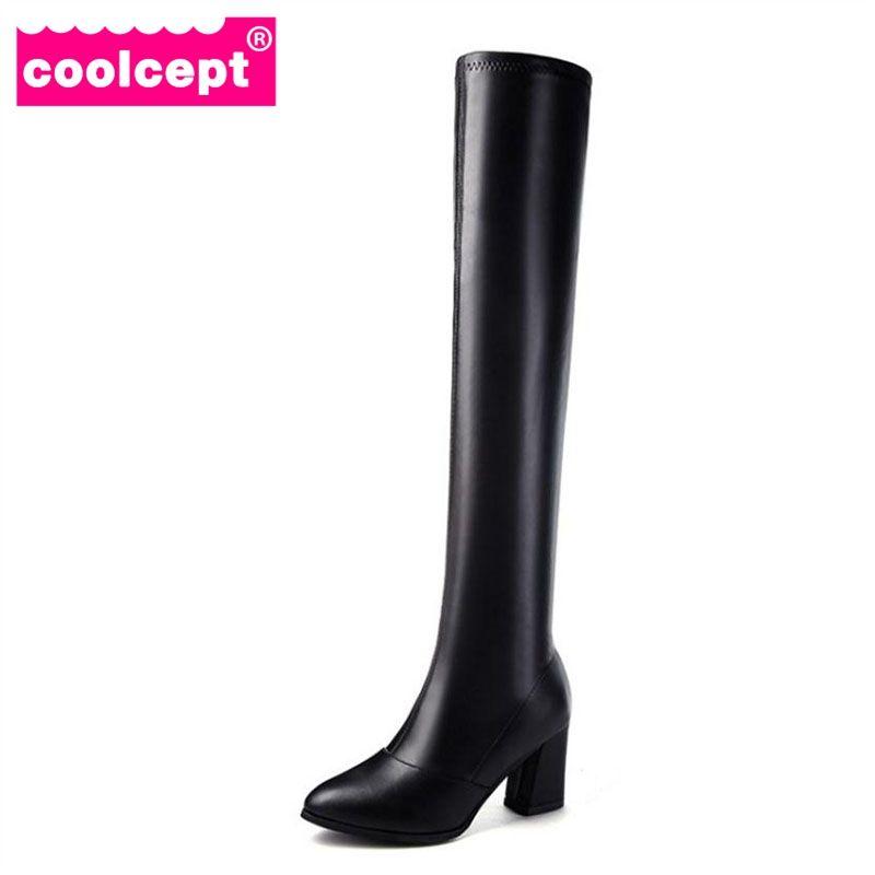 2e89a9fbc5 Compre Coolcept Mujeres Botas Largas De Piel Zapatos De Invierno Mujer  Tacón Grueso Sobre Rodilla Botas Moda Calzado Calzado Damas Tamaño 35 40 A  $36.28 Del ...