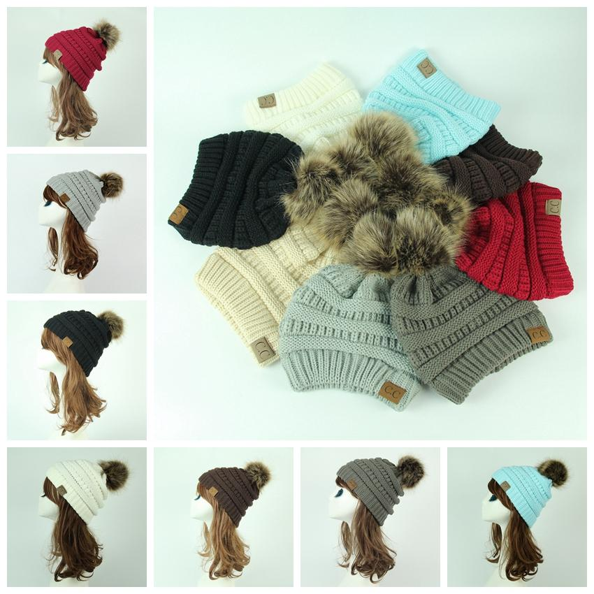 15a6284fabf80 Winter Hat Beanie Cc Faux Fur Pom Pom Ball For Hats Knitted Cap Skully Warm  Ski Hat Trendy Soft Thick Female Caps MMA469 Cc Beanie Pom Pom Hat Cc Hat  Online ...