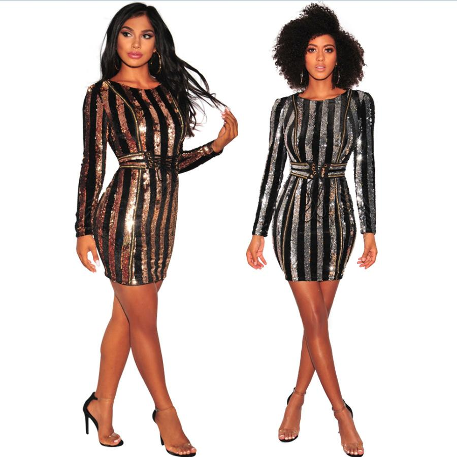 701ac001 2019 2018 Chic Long Sleeve Sequin Dress Fashion Bodycon Shining Stripe Robe  Celebrity Evening Party Dresses Vestidos Silver Gold QJ5100 From  Hengytrade, ...