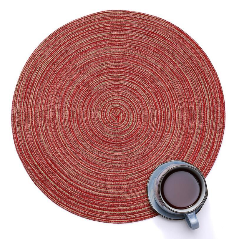 Ramie Cotton Thread Placemat - Table Insulation Round Pad - Linen Table Mats Coaster Kitchen Accessories Restaurant Cafe Home Decoration