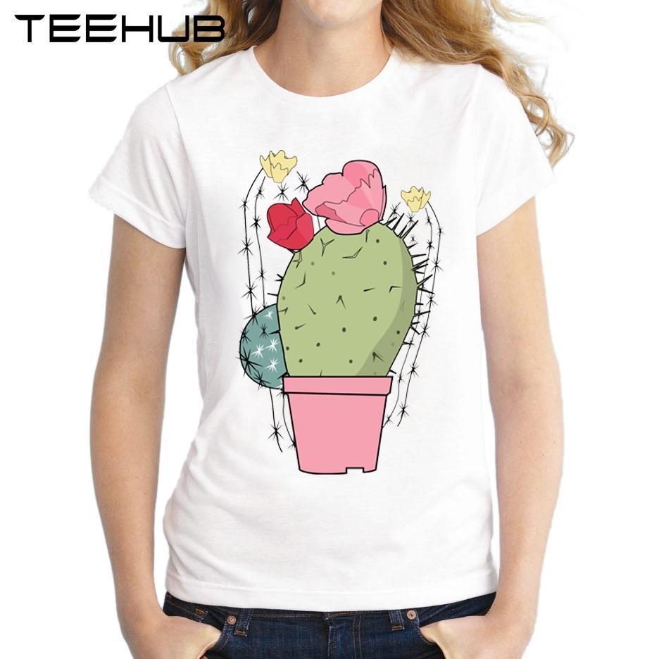 Mujer Cactus Novedad Colores Tops Camiseta Amante La Corta Pastel De Art Niña Manga Impreso Delgada rdBCexo