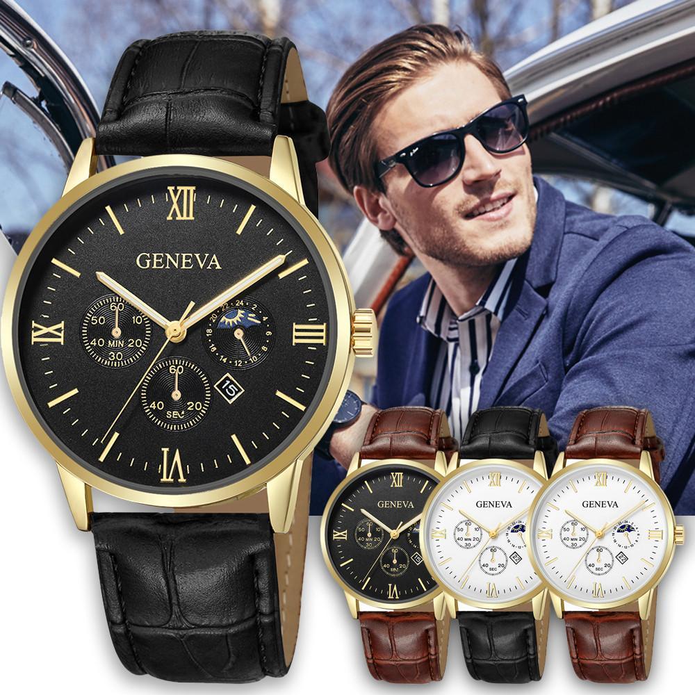 Geneva Fashion Men Date Alloy Case Synthetic Leather Analog Quartz Sport Watch Watches