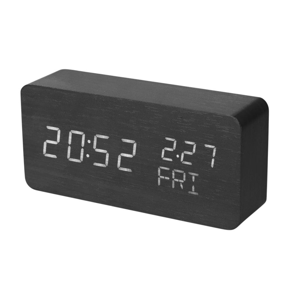 2018 Wooden Led Alarm Clock Electronic Desktop Digital Table Clocks Usb Battery Operated Sound Control Temperature Display From Serlima