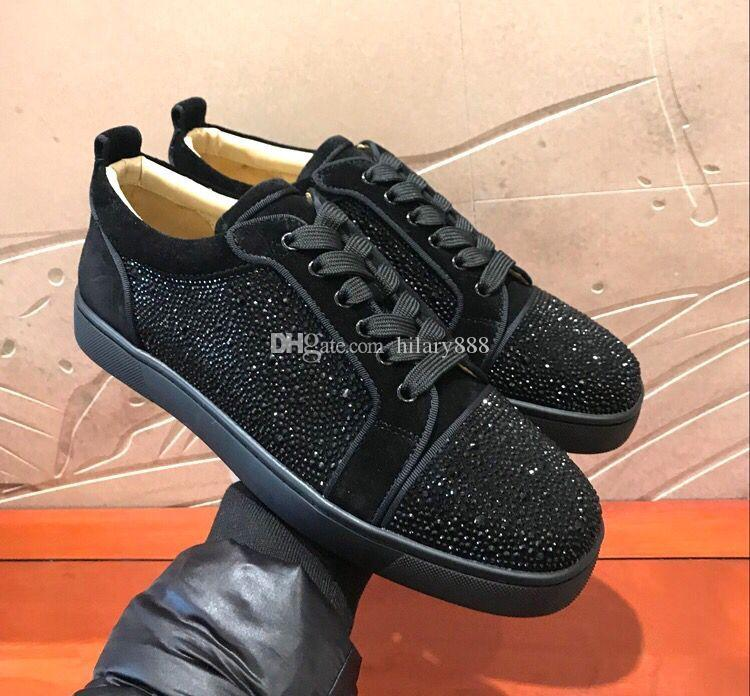 b3135c00c4d2 With Box Luxurious Red Bottom Black Strass Sneakers High Quality ...