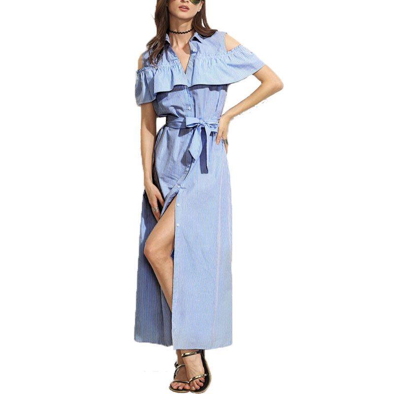 452ba854951d 2019 2018 Off Shoulder Striped Shirt Dress Short Ruffles Sleeve Women  Spring Large Size Long Striped Dresses For Office Women Sexy Maxi Dress From  Yliang36