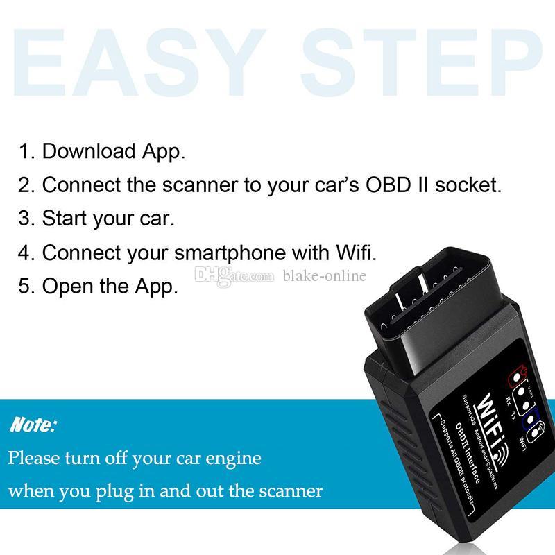 ELM327 OBD2 WIFI Escáner Herramienta de lector de código de diagnóstico OBD II Interfaz V1.5 Adaptador Comprobador del motor para Android / IOS / Windows