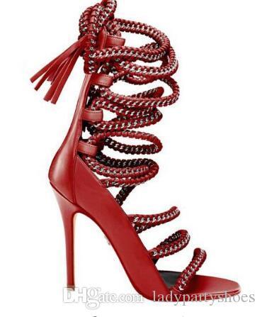 2018 Verão Nova Chegada Patchwork Único Vestido Bombas Bege Vermelho Preto Lace Up Cadeia Strappy Sandálias Gladiador Cut-Outs Vestido Sapatos