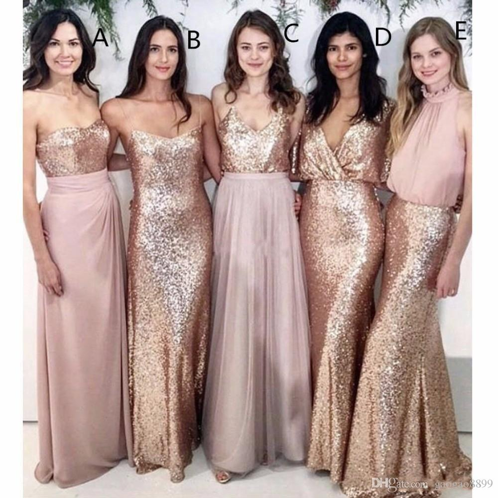 175f3f108b2c Mixed Styles 2018 Modest Beach Wedding Guest Dresses Bridesmaid Dresses  With Rose Gold Sequin Wedding Maid Of Honor Gowns Party Formal Wear  Highstreet ...