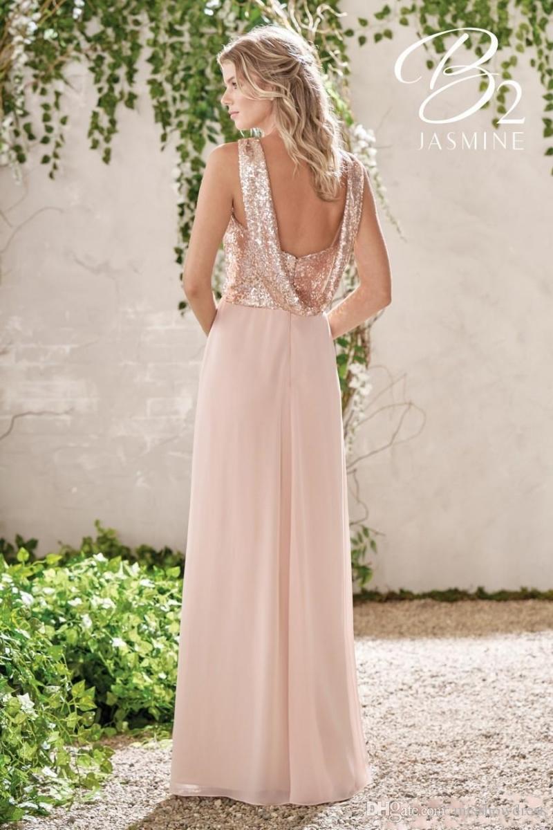 명예 가운 BM0154의 우아한 로즈 골드 장식 조각 쉬폰 긴 신부 들러리 드레스 고삐 등이없는 스트랩 프릴이 웨딩 고객 플러스 사이즈 메이드