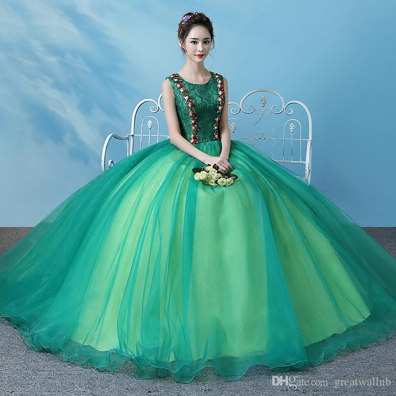 Free Ship Green Lace Ball Gown Vintage Medieval Dress Renaissance ...