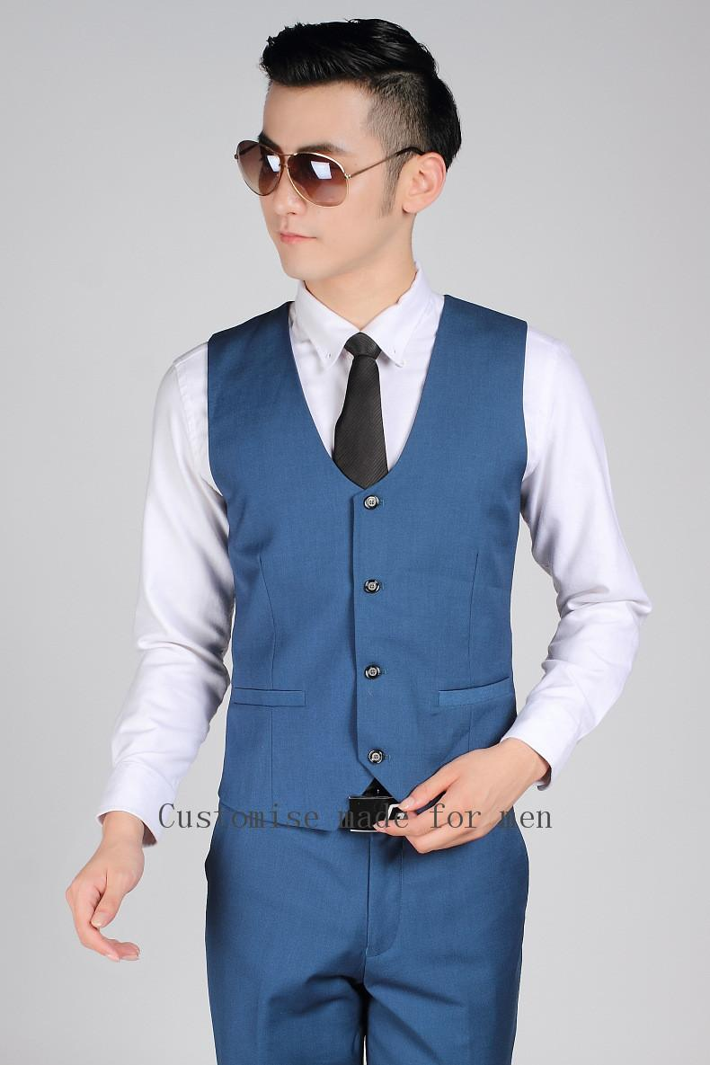 2018 British Style Royal Blue Gentleman Vest Men Office Formal ...