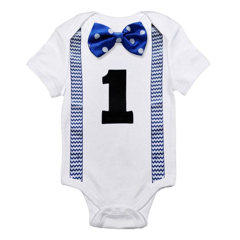 2019 Baby Bodysuits 1st Birthday Outfits Little Boys Suspender Tie Bow Jumpsuits Toddler Boy One Piece Clothing Infant Summer Clothes From Cassial