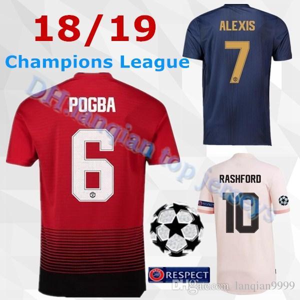 e234c105e Acquista 18 19 Nuovo Manchester United Soccer Jersey 2019 MATA LUKAKU 2018  Champions League Font POGBA ALEXIS RASHFORD Matic Maglia Da Calcio MARTIAL  UCL A ...