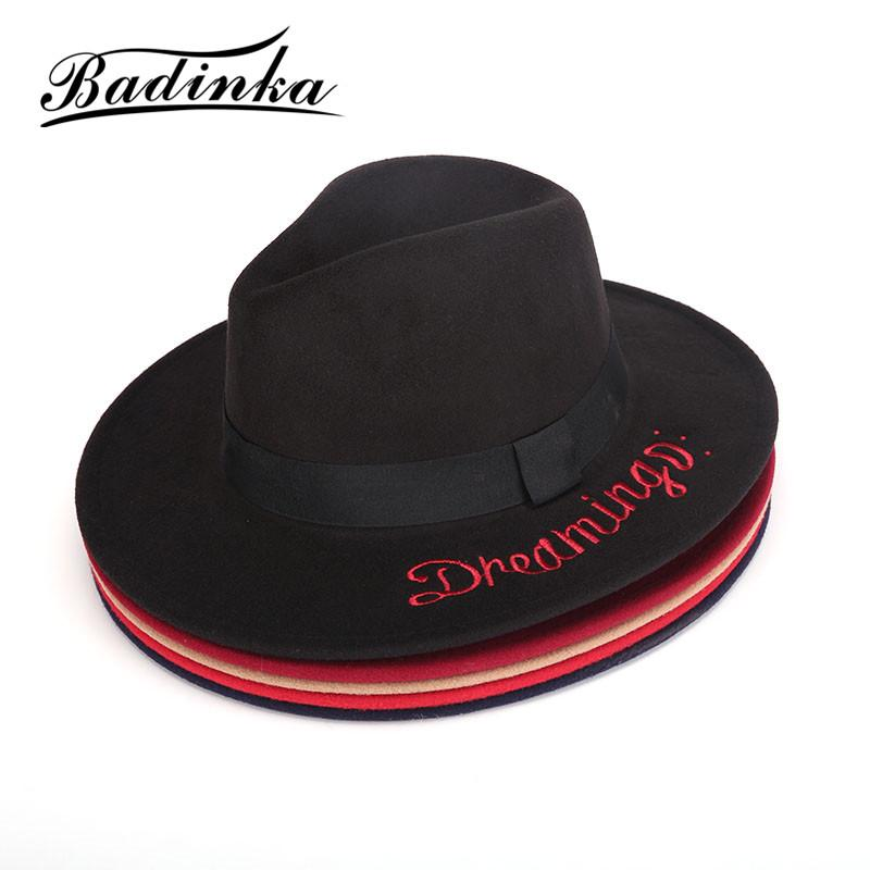 cb5070878 Badinka 2017 New Vintage Autumn Winter Black Red Blue Embroidered Letter  Wide Brim Fedora Hat Ladies Felt Bowler Bucket Hat Caps