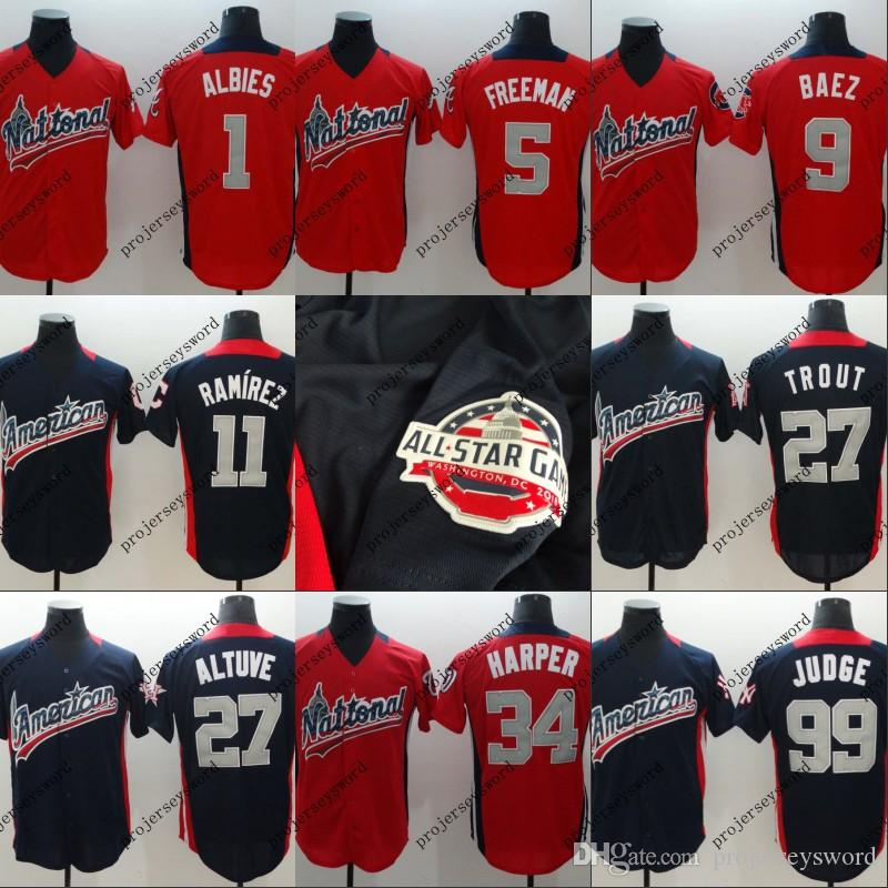 super popular 58fee 27f79 Mens American National League 5 Freddie Freeman 27 Jose Altuve 34 Bryce  Harper 50 Mookie Betts 99 Aaron Judge 2018 All-Star Jersey