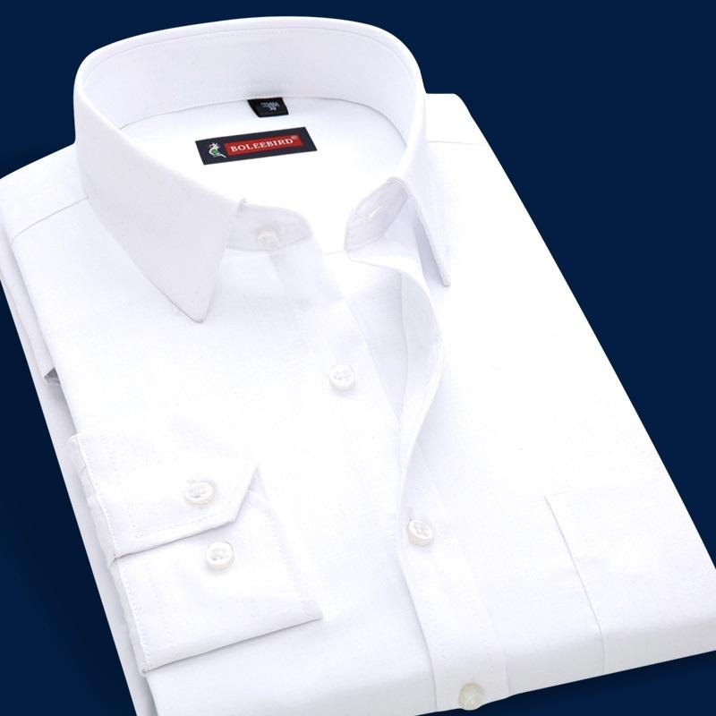 separation shoes 83130 9706e Camicia uomo manica lunga bianca Marca Slim Fit casual Camicia maschile  classica Business Occupazione uomo abbigliamento Big Plus Size Blu D18102404