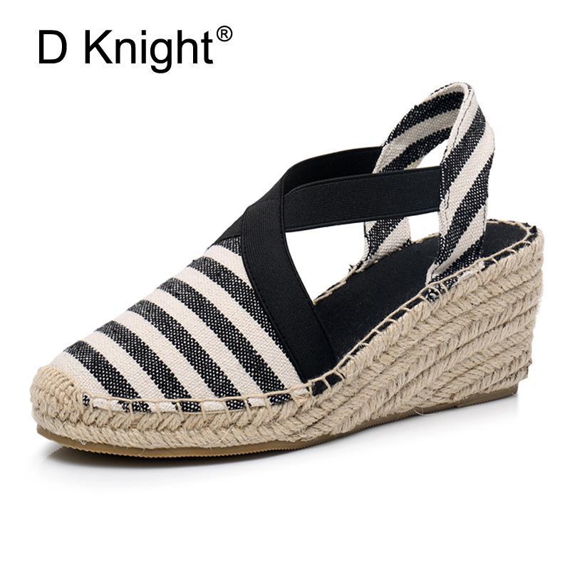 21f3dc9eedc Striped Women Espadrilles High Heel Fisherman Sandals Summer Rope Wedges  Sandal Black Blue Red Canvas Beach Platform Shoes Women Shoe Sale Shoes Uk  From ...