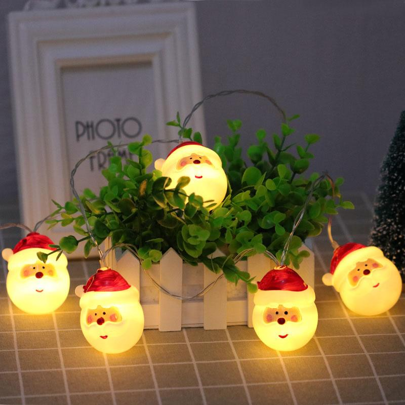Lovely 1.5M 10 LED Santa Claus Holiday LED Light Battery Operated String Lights Christmas Garland Decoration