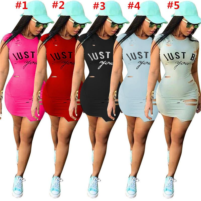 9c137f74d23 2019 Women Just Be You Letter Dress Summer Ripped Holes One Piece Dresses  Short Sleeve Skirts Brief T Shirt Skirt Sports Tights Clothes Club Wear  From ...