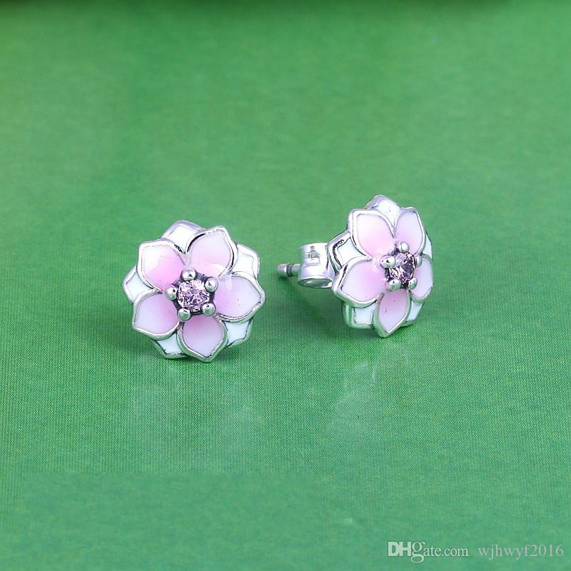 2018 Summer New Magnolia Bloom Floral Stud Earrings Original Authentic 925-Sterling-Silver Pale Cerise Enamel & Pink Crystal Flowers Earring