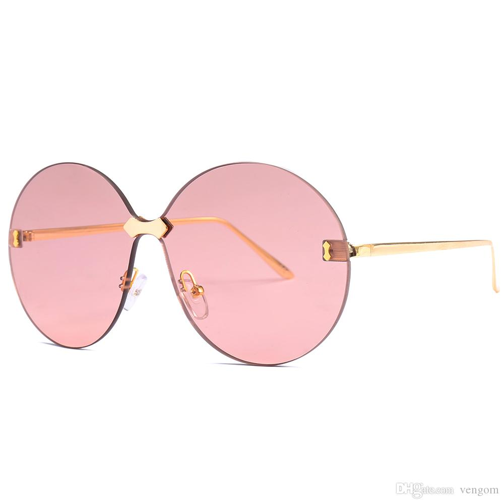 88dcbb4437 VENGOM New Oversized Women Round Sunglasses Fashion Twin-Beams Metal Frame  2018 Ocean Lens Sun Glasses UV400 Fashion Sunglasses Girls  Sunglasses  Men s ...
