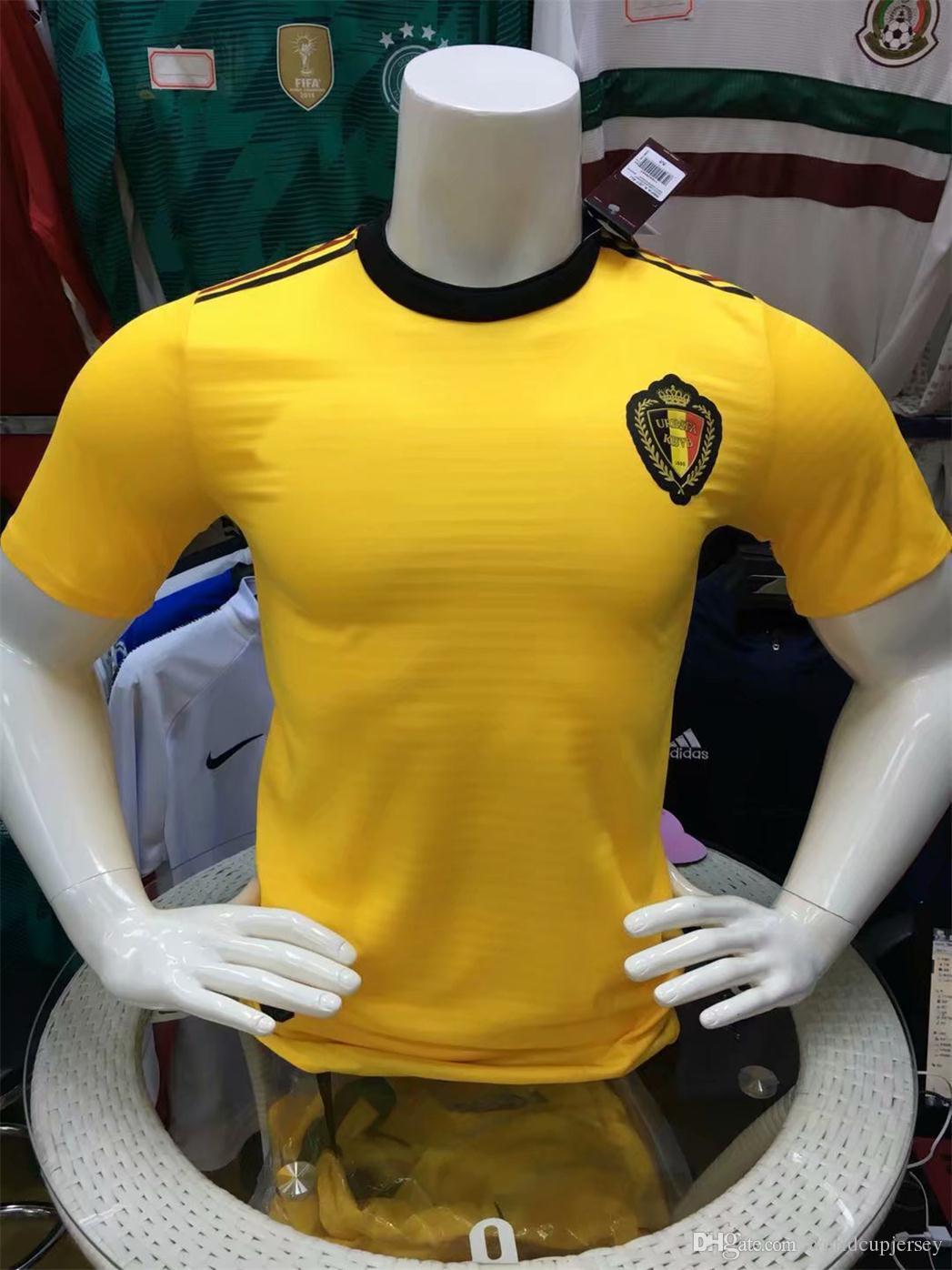 b8c5ec56d57 2019 Thail Quality 2018 World Cup Belgium Soccer Jersey Player Version LUKAKU  FELLAINI E.HAZARD KOMPANY DE BRUYNE 18 19 Belgium Football Shirt From ...