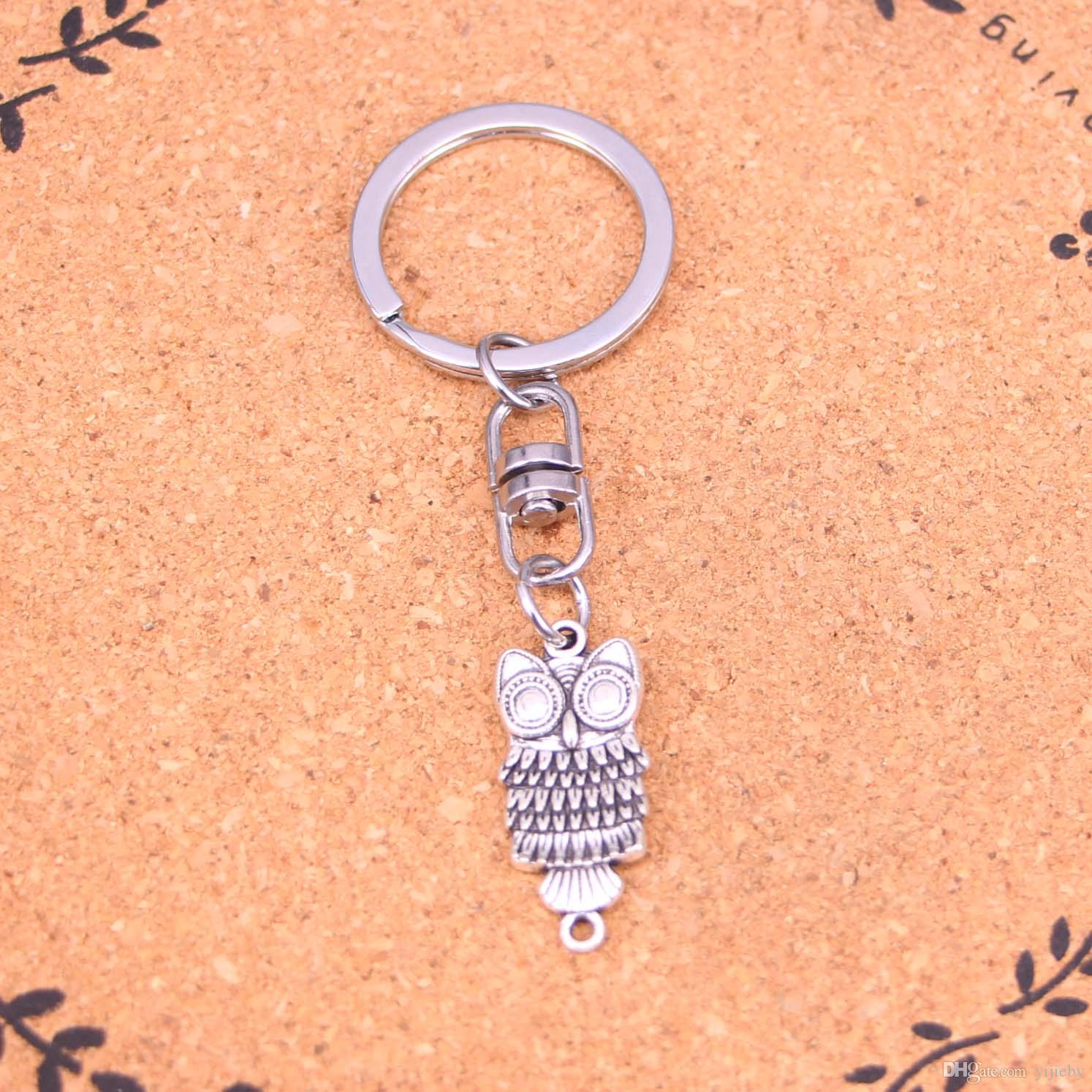 New Fashion Keychain 17*13mm owl connector Pendants DIY Men Jewelry Car Key Chain Ring Holder Souvenir For Gift