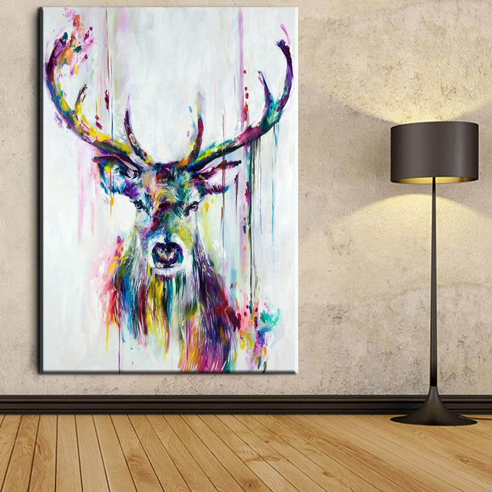 Big Triptych Watercolor Deer Head Posters Print Abstract Animal ...