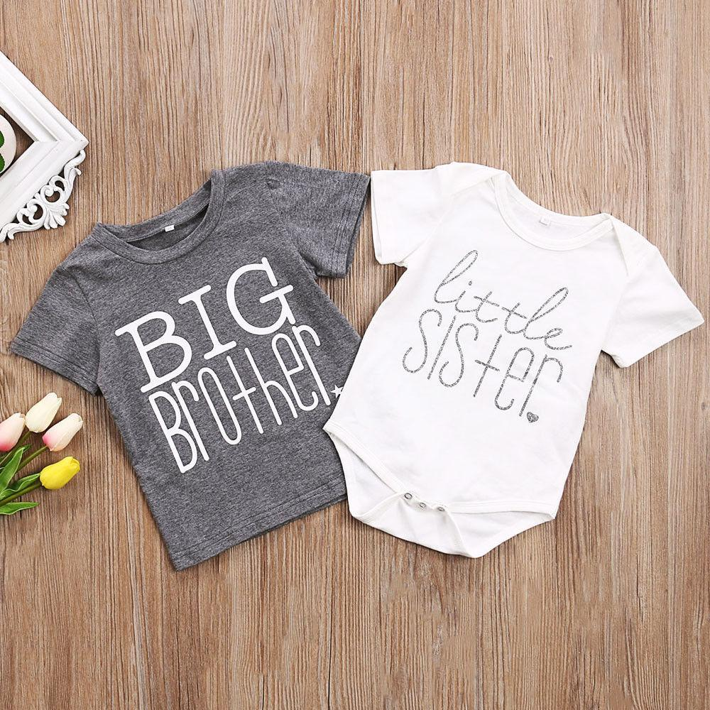 68ac8e002aa Toddler Kids Baby Girls Boys Cotton Bodysuit Romper Tops T Shirt Brother  Sister Infant Girl Boy Casual Brief Clothing Set Soft Matching Easter  Outfits For ...