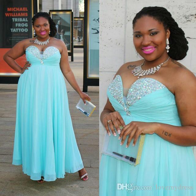 Aqua claro Sparkly Cristal Vestidos Vestidos Plus Size querido Pedrinhas cintura império Backless baratos Prom vestidos formais