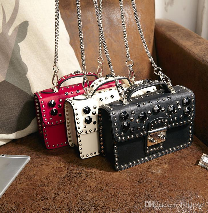 8f9cf1fe2e Women S Rivet Crossbody Bag New Korean Version Of The Mini Diamond Studded  Shoulder Chain Small Square Bag Handbags Wholesale Evening Bags From  Houleilei