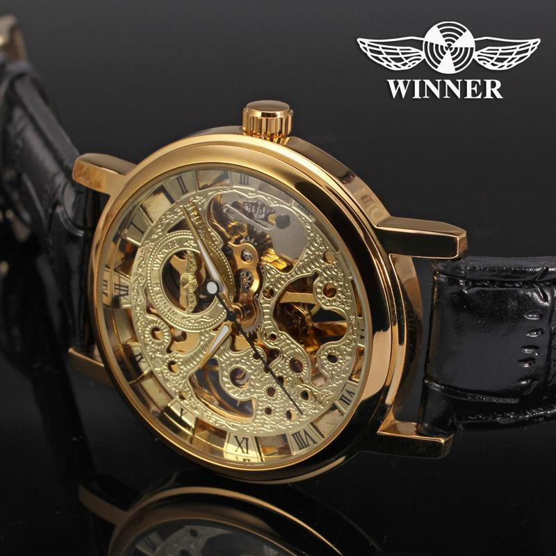 Watches Men Low Price High Quality Mechanicanl Luxury Brand Watch Male Dress Genuine Leather Band Golden Skeleton Watch Gift Box