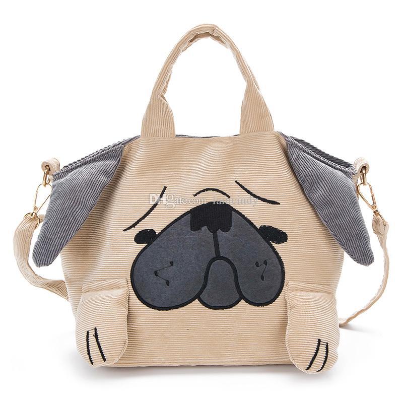 236db12e9bd Wholesale Fashion Cute Pug Puppy Mini Handbag Kids Girls Corduroy Handbags  Designer Handbags Casual Small Shoulder Bag Designer Purses Satchel Bags  From ...