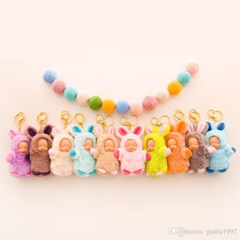 Sleeping Baby Keyring Plush Doll Accessories Key Buckle Cute Surprise Doll Children lovely Cartoon Keychain Toys 4 7pc W