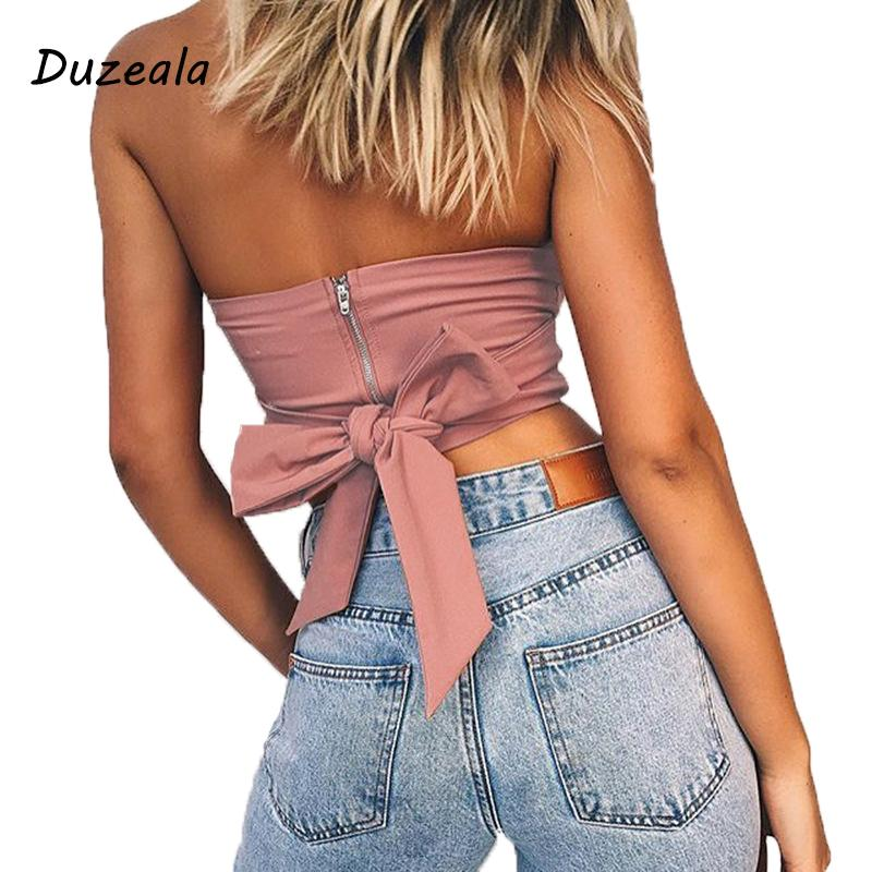 b4000d6c70f27 2019 Duzeala Sexy Beach Off Shoulder Strapless Tank Tops 2018 Pink Bow Tie  Casual Cute Summer Female Short Crop Tops Camis Feminino From Xiayuhe