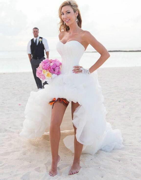 2018 High Low Beach Wedding Dresses Summer Sweetheart Neckline Ivory