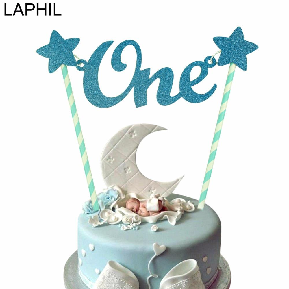 21ffffa944219 LAPHIL Baby First Birthday Blue Pink Glitter ONE Cake Topper Boy Girl 1st  Birthday Party Decorations Kids I AM ONE Party Favors