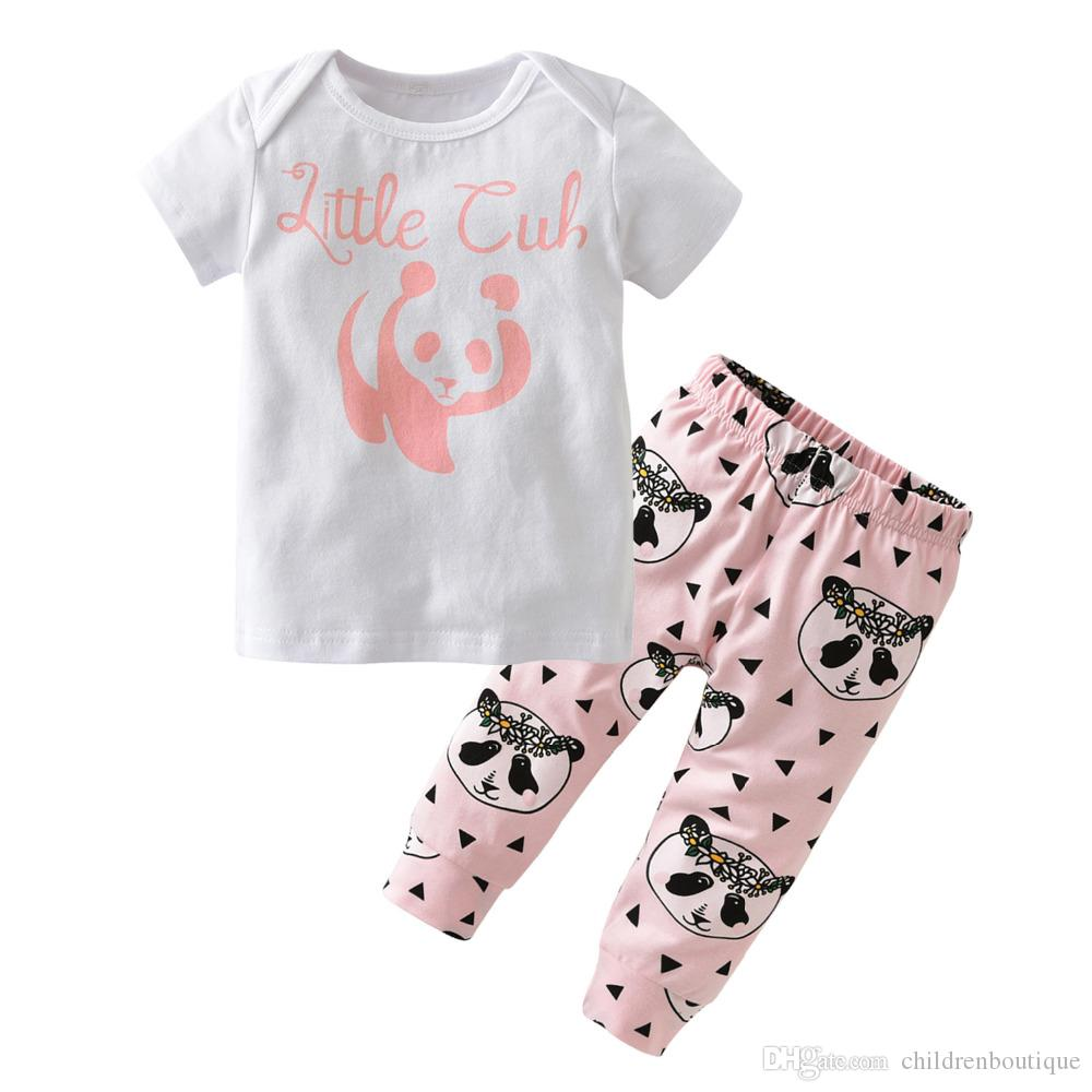 600ea49d9569b 2019 Summer Spring Autumn Baby Girl Clothes Newborn Cartoon Panda T Shirts  + Pants Cute Baby Girls Clothing Sets Infant Set From Childrenboutique