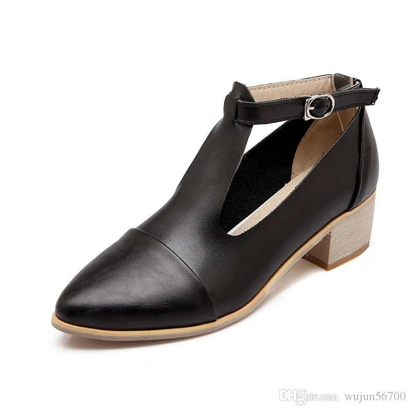 Women Pumps casual shoes cheap Pointed Toes Dress Office & Career Med Chunky Heel Pony T-tied Buckle Spring and Fal Silver Plus Big size