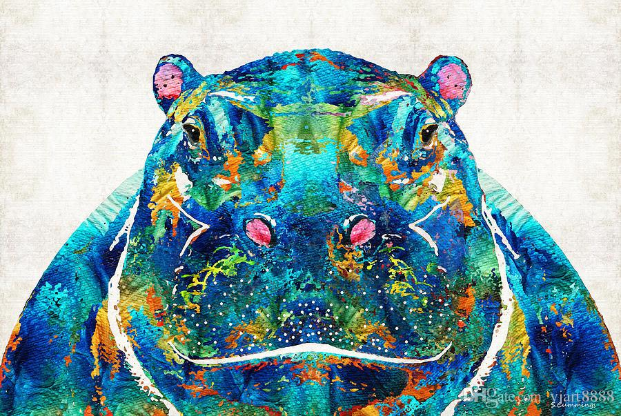2018 Yj Art Colorful Happy Hippo Unframed Modern Canvas Wall Art For ...