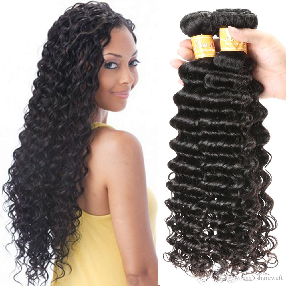 7a Deep Wave Brazilian Virgin Hair Bundles Remy Curly Weave Wet And