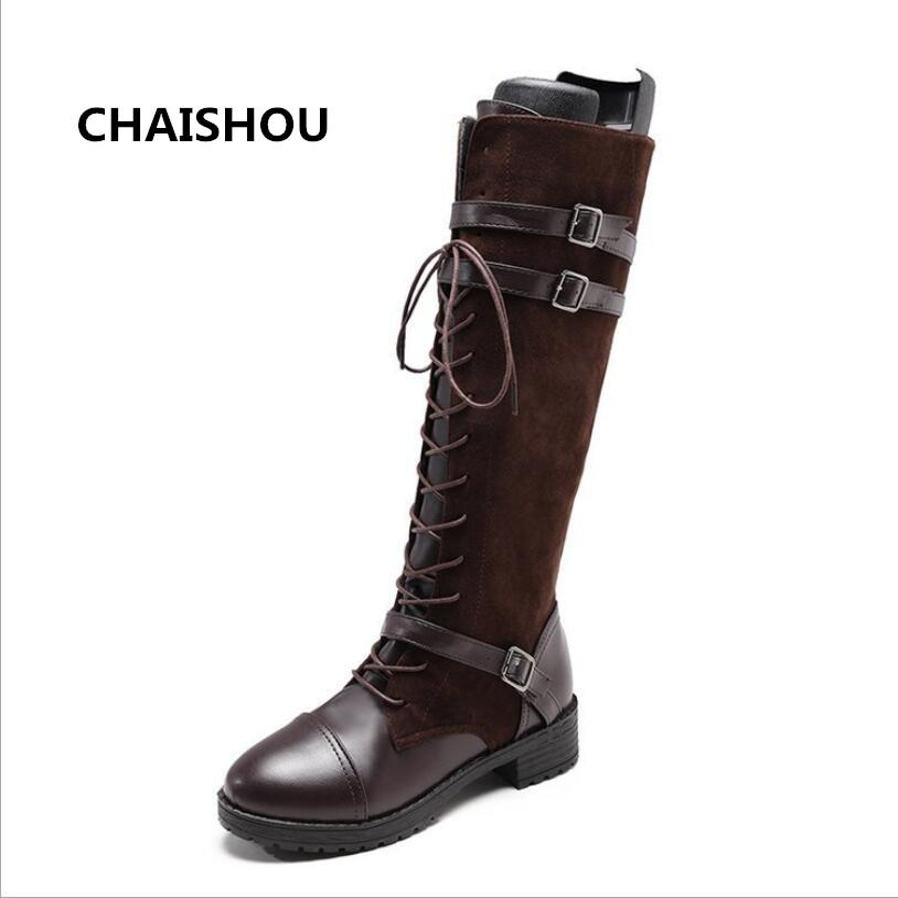 08beb08d87e CHAISHOU Shoes Woman Casual Ladies Platform Boots High Quality PU Lace Up  Round Toe Big Size 35 43 Martin Boots Zapatos De Mujer Desert Boots Wellies  From ...