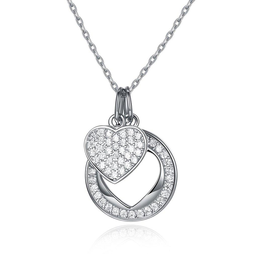 1c9458c78f89b 2019 925 Sterling Silver Lady Simple Fashion Link Chain Necklace With  Zircon Pendant Exquisite Jewelry Fit Wedding Anniversary Gift From Fenkbao