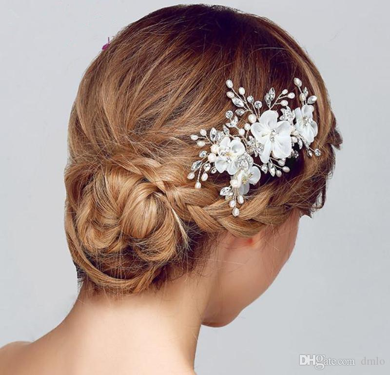 Headdress Flower Bridal Wedding Hair Clips for Bride Crystal Hairpins Women Handmake White Red Bridal Headpiece Hair Jewelry Accessories